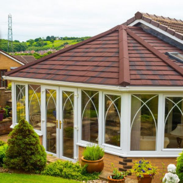 Custom made SupaLite tiled roof system for conservatories